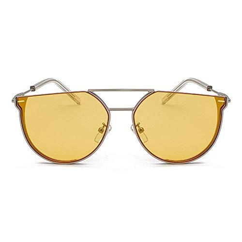 KCGNBQING Gafas de Sol Nueva Personalidad Semi-círculo Gafas de Sol Moda Moda Metal Retro Hombres UV400 Protección Marco de Plata Gafas de Sol de Moda Hombre/Mujer (Color : Yellow)