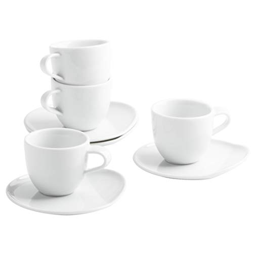 Kahla 02F249A90002C MG O - The Better Place Porzellan Tassenset für 4 Personen Espresso Tassen Set 8-teilig weiß modern Mokka Barista