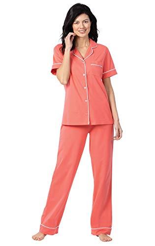 PajamaGram Cotton Womens Pajama Sets - Summer Pajamas for Women, Coral, L 14-16
