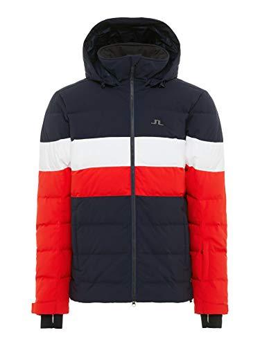 J.Lindeberg M Russel Down Jacket Rot-Schwarz-Weiß, Herren Daunen Isolationsjacke, Größe L - Farbe Racing Red