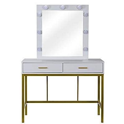 Dressing Table Single Mirror/Two Drawer White