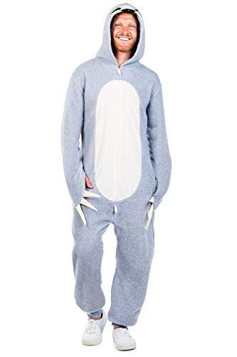 Tipsy Elves's Men's Sloth Costume - Cute Grey Fuzzy Animal Halloween Jumpsuit Size XXL