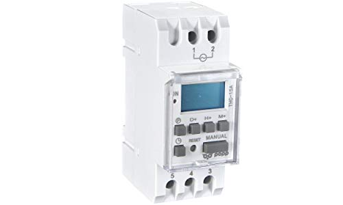 POPP® Electric Interruptor de relé de tiempo programable semanal de potencia LCD Digital THC15A 220V 16A (THC-15A)
