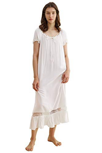 Latuza Women's Sleepwear Off The Shoulder Victorian Nightgown, White, Large