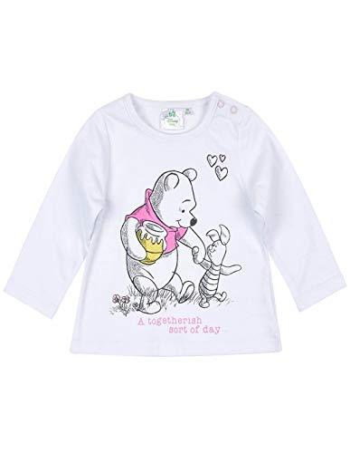 Winnie l'ourson T-Shirt Manches Longues bébé Fille et Porcinet Blanc de 3 à 24mois - Blanc, 3 Mois