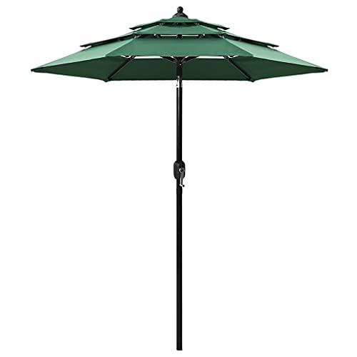 vidaXL Sombrilla de 3 Niveles con Poste Parasol Exterior Patio Terraza Protección contra Rayos Playa Piscina Toldo de Aluminio Verde 2 m