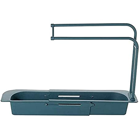 Telescopic Sink Rack Holder Expandable Storage Drain Basket Home Kitchen Kit BLUE