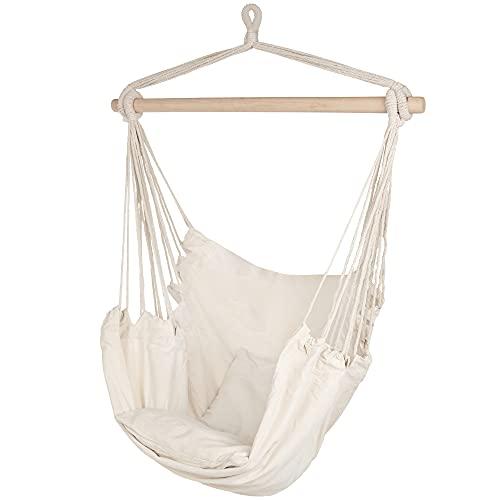 ib style®Kalea Hängesessel   Hängestuhl   mit 2 Kissen und Zubehör   bis 150 kg belastbar   Weiß