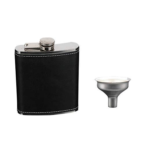 BESTONZON - Petaca para licor y embudo, botella de bolsillo, acero inoxidable, cubierta de piel negra, para whiskey Rum Scotch Vodka