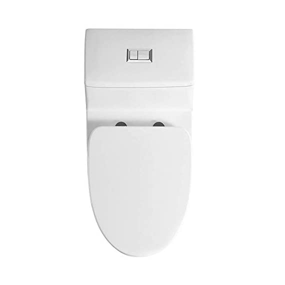 WOODBRIDGE T-0001, Dual Flush Elongated One Piece Toilet with Soft Closing Seat, Comfort Height, Water Sense, High-Efficiency, Rectangle Button B-0940 Pure White 11 <p>✅ : Ship from warehouse directly ; Fast shipment Thant regular order ✅ : Luxurious Modern Design one piece toilet , Clean, sleek look and compliment with different styles like modern , craftsman , traditional and etc. ✅: The skirted trap way creates a sleek look and makes cleaning easier. Compare to other toilets, it has no corners and grooves, very easy to reach for cleaning . ✅: Siphon Flushing one piece toilet, Fully glazed flush system , bringing a super quiet and powerful flushing - NO clogs, NO leaks, and NO problem ✅: Comfort Height Design, Chair-height seating that makes sitting down and standing up easier for most adults ✅ High end Soft Closing Toilet Seat with Stainless Steel Durable Seat Hinge, Easy to get the toilet seat off to tighten or clean after years of use. ✅ : Package Includes toilet, pre-installed soft closing toilet seat, pre-installed water fitting , high quality wax ring , floor bolts , and installation instruction, also Include special hand wrench tool to easily tighten the bolts in narrow spaces. ✅ : US & Canada UPC & CSA certified products. High-efficiency, Water Sense Certified toilet - meet or exceed ANSI Z124. 1 & ANSI A112-19. 7 ✅ : 5 year limited on porcelain parts against fading/staining of the glaze; 1 Year on flushing mechanism & soft closing toilet seat , Woodbridge US based product support team is happy to assist with any sales or product-oriented queries.</p>
