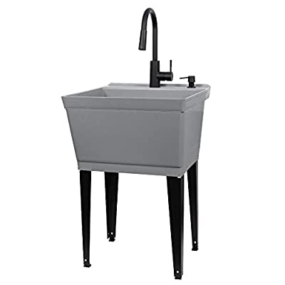 Grey Utility Sink Laundry Tub With High Arc Black Kitchen Faucet By VETTA - Pull Down Sprayer Spout, Heavy Duty Slop Sinks For Washing Room, Basement, Garage, or Shop, Free Standing Tubs