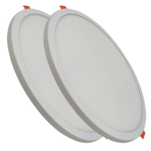 Pack 2x Panel LED redondo plano, 20w, CORTE AJUSTABLE (50-180mm). Color Blanco Frio (6500K). 1800 lumenes. A++