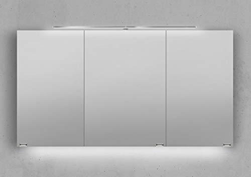 Intarbad ~ Spiegelschrank 130 cm LED Beleuchtung mit Farbwechsel doppelseitig verspiegelt Weiß Hochglanz Lack IB5329