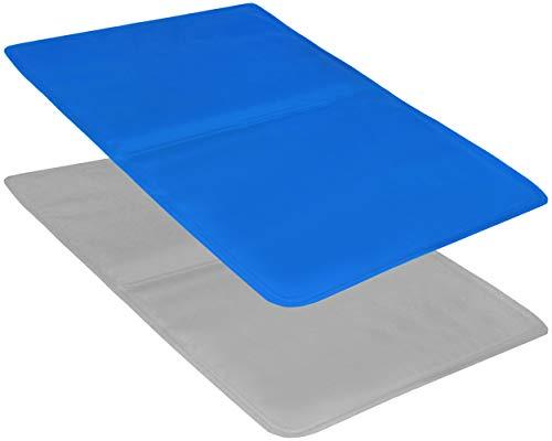 COM-FOUR® 2x gelkussens voor een comfortabele nachtrust, multifunctionele koelmat met verkoelende gel - kussensloop voor het kussen - 40 x 30 cm (02 stuks - blauw/grijs)