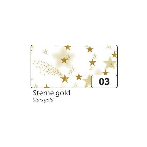 folia Transparentpapier 115 g/m², 50,5x70cm, 5 Rollen, Sterne, Gold (1 Stück)