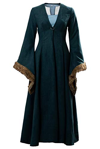 Cosplaysky Game of Thrones Costume Catelyn Stark Dress Coat Medium Green
