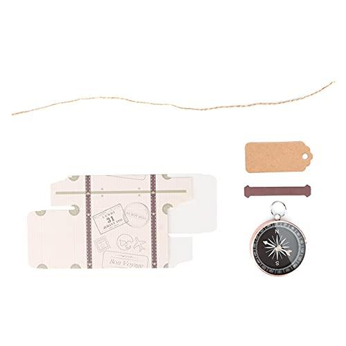 Jenngaoo Confezione Regalo Bussola da 20 Pezzi, Scatole a Forma di Valigia con Etichette Kraft Souvenirs Decorativi per Festa Nuziale da Viaggio(Oro Rosa)