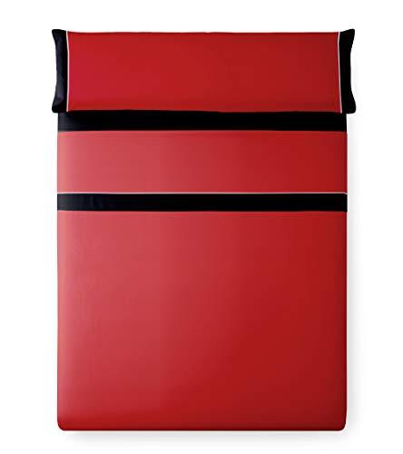 Vipalia Juego de Sabanas Bicolor Lisas 3 Piezas. 100% Poliester. Encimera, Bajera Ajustable y Funda Almohada. Lavables. Evoque. Color Rojo/Negro. Cama 135 cm