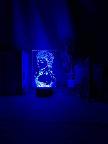 2021 New Anime Jojo's Bizarre Adventure Art Gadget LED Luz nocturna con sensor táctil, luz nocturna multicolor para decoración del hogar, lámpara 3D ZGLQ