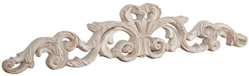 Biscottini Sopraporta Fregio Mensola Decoro Decori da Parete in Legno Finitura bianco Anticato L 80 x PR 2,5 x H 15 cm Made in Italy