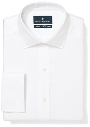 BUTTONED DOWN Men's Tailored Fit French Cuff Spread-Collar Non-Iron Dress Shirt, White, 17.5