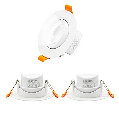 ENUOTEK 6W Foco Redondo Downlight Empotrable Lámparas LED de Techo Orientables 500LM Luz Blanca Fría 5000K, Diámetro de Agujero 70-80MM, AC100~240V, No Regulable, Lot de 3