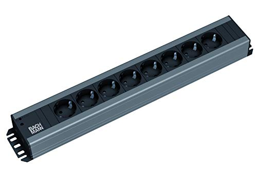 Bachmann 300.006 HANDWERKERLEISTE mit 8xSchutzkontaktsteckdosen Zuleitung 2,0m, 230 V, Schwarz