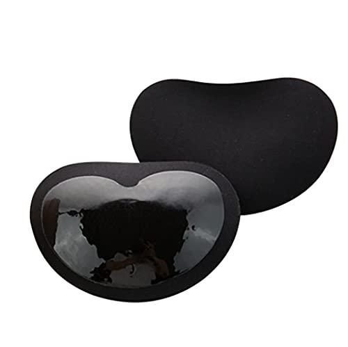 Pegatinas para el pecho 1 par de brasieres viscosos para mujer, almohadillas de sostén de esponja gruesas, desmontables, para añadir una taza de bikini para bañadores de niñas (Color: Negro)