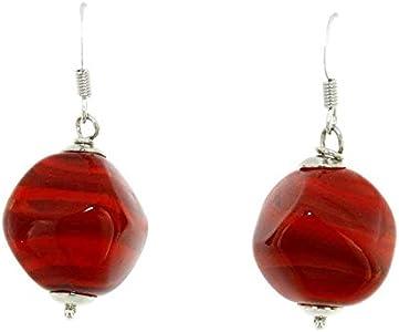 Hecho a mano diseño de pendientes cristal de Murano Mujer Piedra Rojo fabricado en Italia
