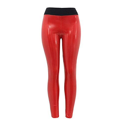 FRAUIT dames patchwork Shiny Sport Leggings naden reflecterende yogabroek PU lederen broek Skinny slanke broek kunstleer Treggins slim smooth heuphoogte stretch broek zwart