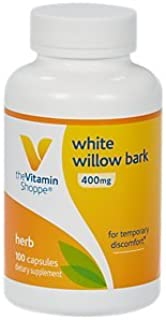 The Vitamin Shoppe White Willow Bark 400MG, for Temporary Discomfort (100 Capsules)