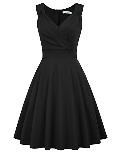 GRACE KARIN Women's V-Neck Sleeveless Cocktail Dresses A-Line Size L Black