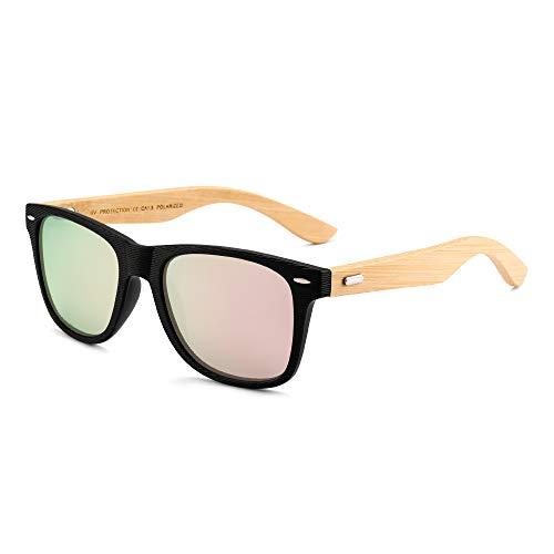 GLINDAR Gafas de sol polarizadas de madera para hombres Mujeres Gafas cuadradas retro UV400 Remache de protección en el marco (Marco negro/Espejo polarizado Lente rosa)