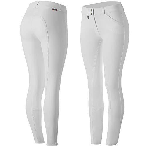 HORZE Grand Prix Women's Leather Full Seat Breeches, White, 42