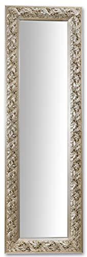 Espejo de pared marco de madera barroco cm. 47x147 hoja de plata, plateado antiguo, made in Italy