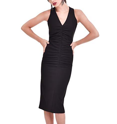 Vestido Mujer Fiesta Boda Evento Elegante Midi Liso Entallado Manga Sisa (Negro,...