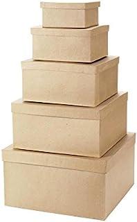 Darice 5 Piece Value Pack Paper Mache Square Box Set