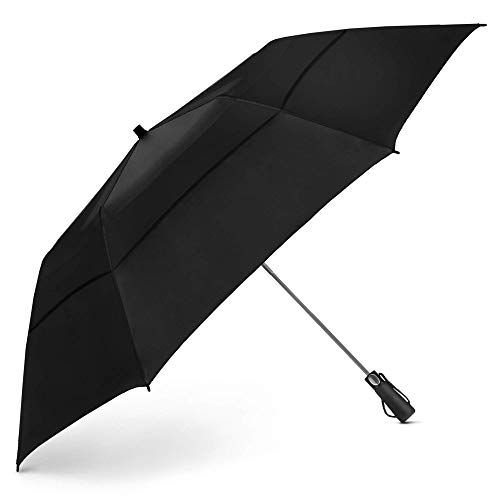 EEZ-Y Golf Umbrella Large 58 Inch Double Canopy Strong Windproof Heavy Duty & Oversized but Foldable Into Compact Size of 23 Inches For Travel Break Resistant Rain Umbrellas - Jet Black