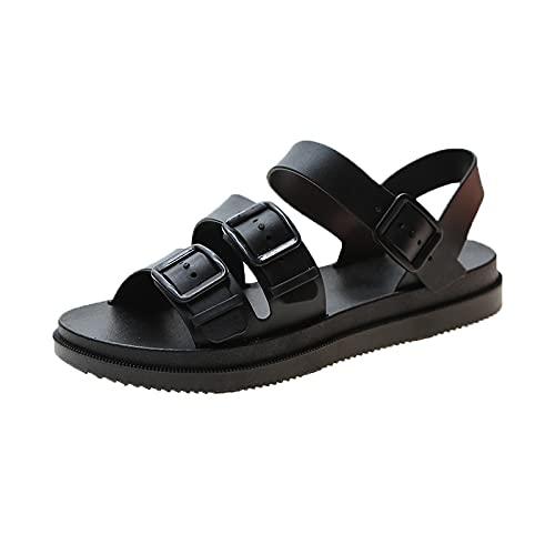 AKPO Sandalias Planas para Mujer, Sandalias de gelatina Suave con Hebilla de Gladiador, Zapatos de Playa Informales para Mujer con Plataforma Plana para Mujer, Zapatos de Verano black-9-US