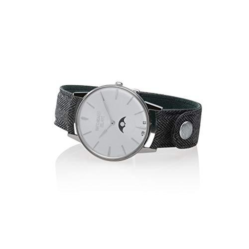 Watchmaker Milano Orologio Uomo Analogico da Polso Slim con Fasi Lunari Vintage (Bianco e Argento)