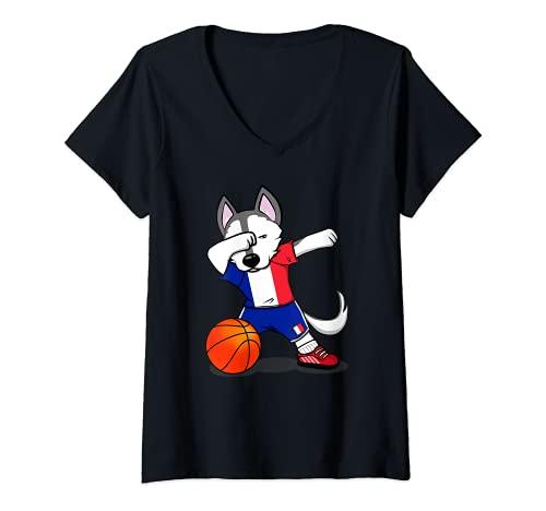 Mujer Dabbing Husky Perro Baloncesto de Francia - Bandera Francesa Camiseta Cuello V