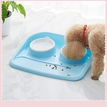 Voerbak voor honden met anti-overloop en verwijderbare en wasbare lekvrije milieuvriendelijke plastic puppy voerbak, gemakkelijk schoon te maken voor kleine middelgrote grote honden Katten Huisdieren
