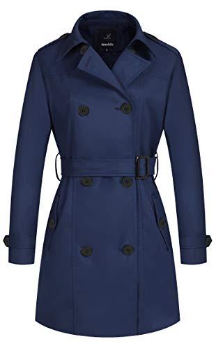 Wantdo Trench Media Lunghezza Giacca Tempo Libero Outdoor Giubbotto Elegante Classico Cappotto Bavero Vintage Donna Marina XXL