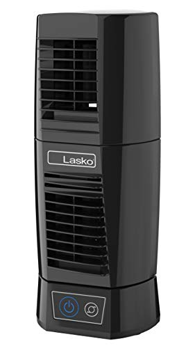 Lasko T13310 Personal Oscillating Table Tower Fan – Small, Quiet, Portable, Electric Plug-In, Mini Desktop Fans for Staying Cool at Home and Office, Day and Night