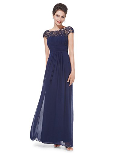 Ever-Pretty Womens Cap Sleeve Lace Neckline Ruched Bust Evening Gown 14 US Navy Blue