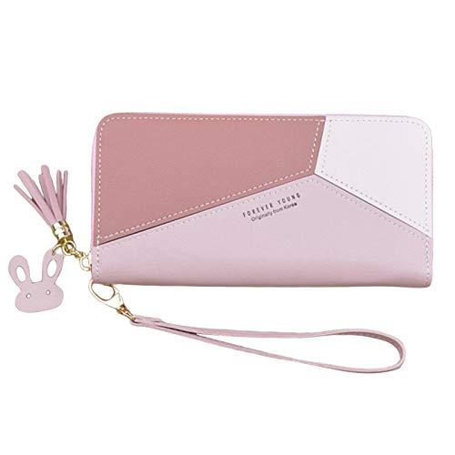 FITYLE Cartera de cuero para mujer con cremallera en torno a la cartera de embrague con correa de bolso de mano borla Tote teléfono titular - Long Pink