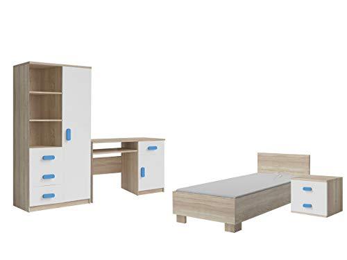 Idzczak Meble Jugendzimmer Jonas 03 II Kinderzimmer Set Komplett Möbel Modern Schreibtisch NEU (Weiß/Sonoma + Blau)