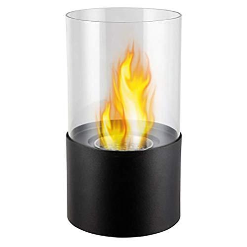 Pnayk Woonaccessoires voor gebruik binnenshuis, bio-ethanolbrandstof met brandende vlam, hittebestendig gehard glas voor binnen en buiten, bio-ethanolbrander, zwart/grijs