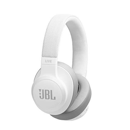 JBL LIVE 500BT - Auriculares Inalámbricos con Bluetooth, Asistente de voz integrado, Sonido Pure Bass con Tecnologías TalkThru y AmbientAware, Hasta 30h de música, Color Blanco, con Alexa integrada