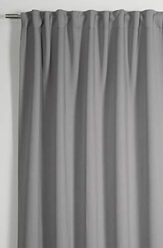 GARDINIA Vorhang mit integriertem Gardinenband, Verdunkelnd und blickdicht, Dimout, Grau, 140 x 245 cm